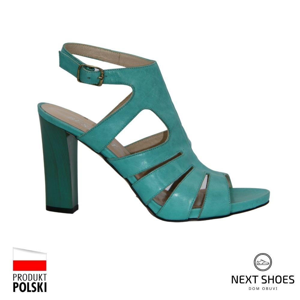 Босоножки на высоком каблуке женские зеленые NEXT SHOES (Польша) летние арт  модель 2296