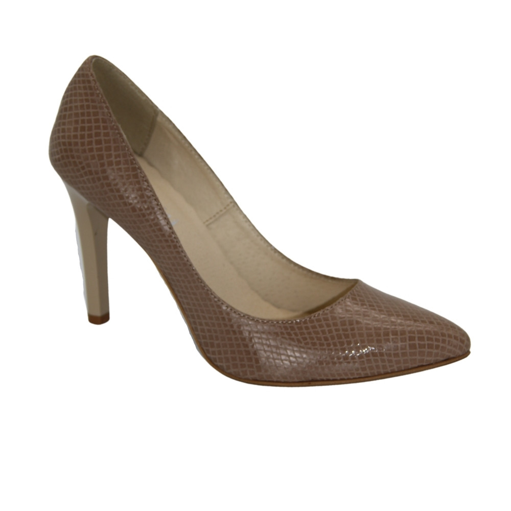 Women's beige mid-heeled shoes, demi-season NEXT SHOES (Poland) Genuine leather, art 199 model 2675