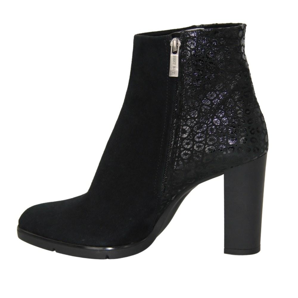 Женские черные ботинки на среднем каблуке со змейкой демисезонные NEXT SHOES (Польша) Натуральная замша, арт  модель 2760