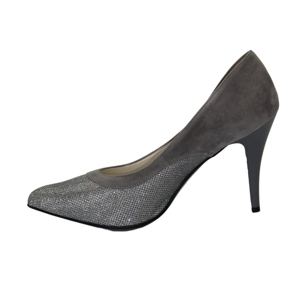 Женские серые туфли-лодочки на среднем каблуке демисезонные NEXT SHOES (Польша) Натуральная кожа, арт 211 модель 2915