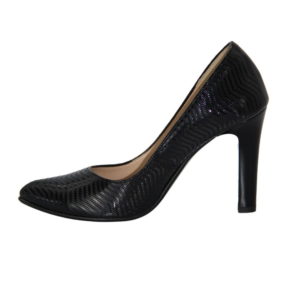 Женские черные туфли-лодочки на среднем каблуке демисезонные NEXT SHOES (Польша) Натуральная кожа, арт 1394 модель 2919