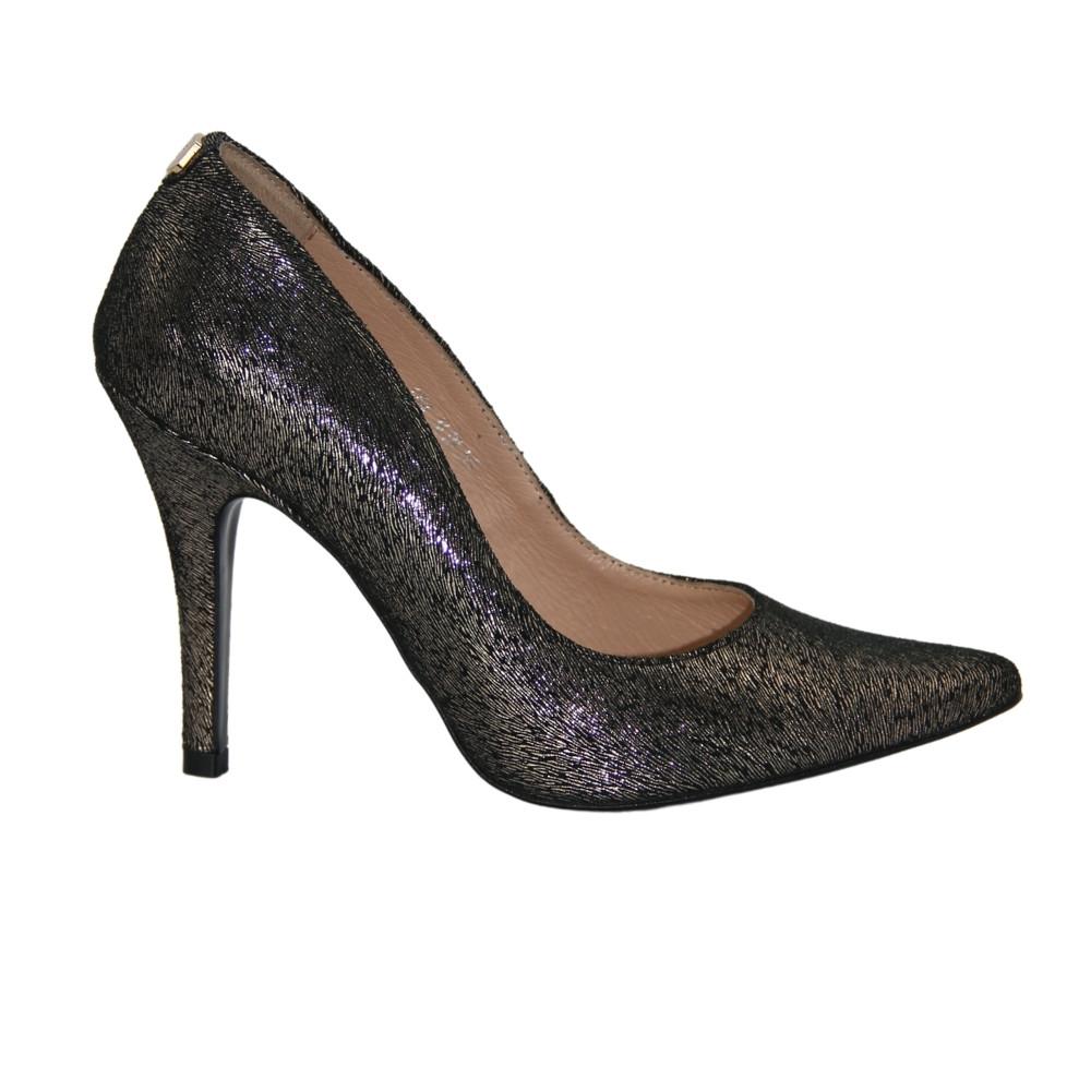 Женские золотистые туфли-лодочки на среднем каблуке демисезонные NEXT SHOES (Польша) Натуральная кожа, арт 1418 модель 2926