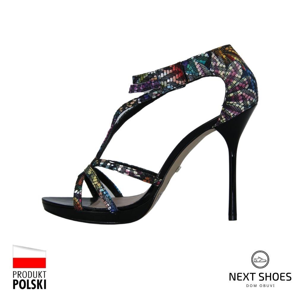 Босоножки на высоком каблуке женские черные NEXT SHOES (Польша) летние арт 12404-11-c26-e80-05-00 модель 2940