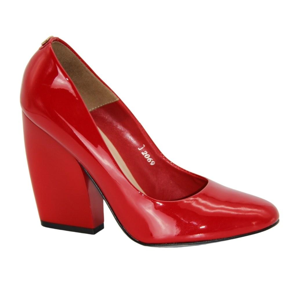 Женские красные туфли-лодочки на среднем каблуке демисезонные NEXT SHOES (Польша) Натуральная кожа, арт 206988 модель 3060