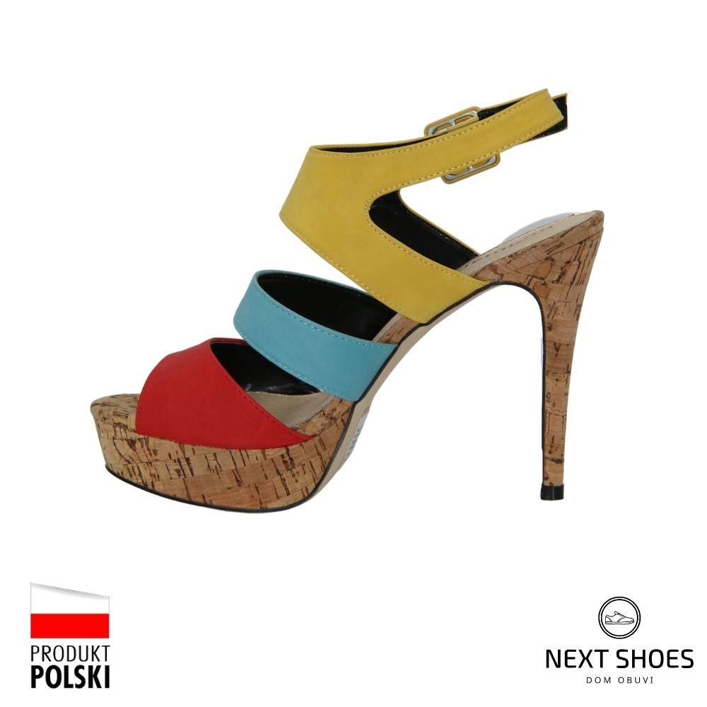Босоножки на высоком каблуке женские разноцветные NEXT SHOES (Польша) летние арт 358-bez модель 3101
