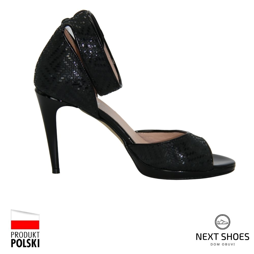 High-heeled sandals female black NEXT SHOES (Poland) summer art 0237p-103-027-1 model 3107