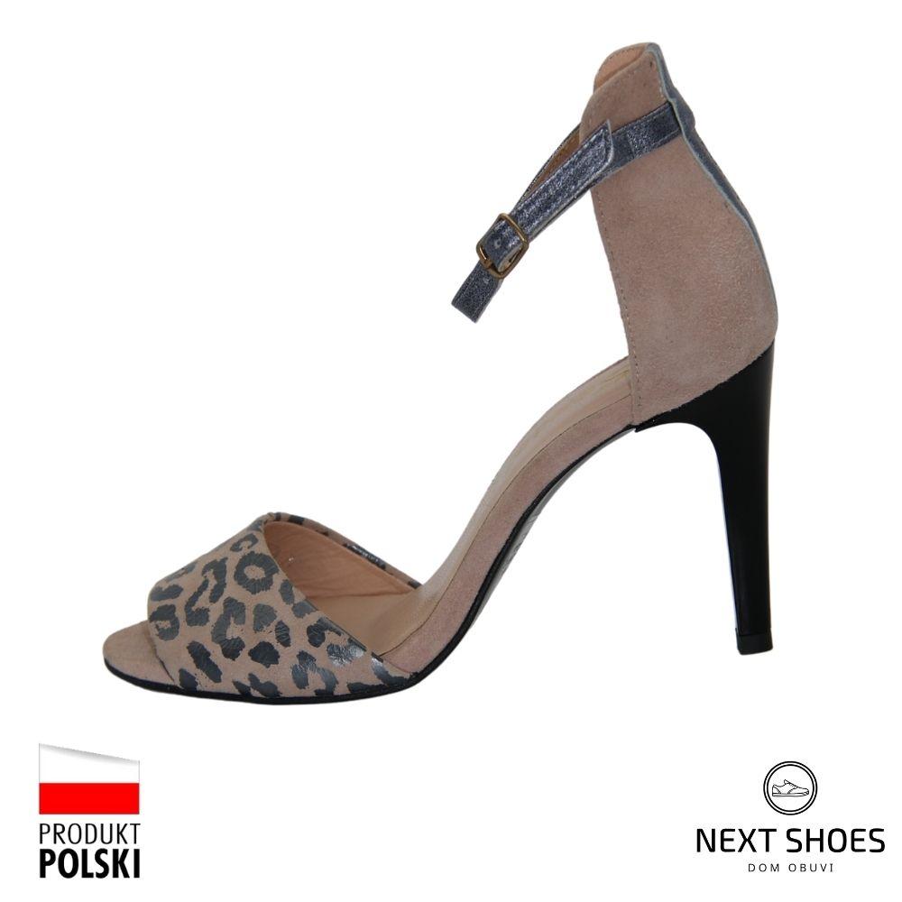 Босоножки на высоком каблуке женские бежевые NEXT SHOES (Польша) летние арт 1574 модель 3124