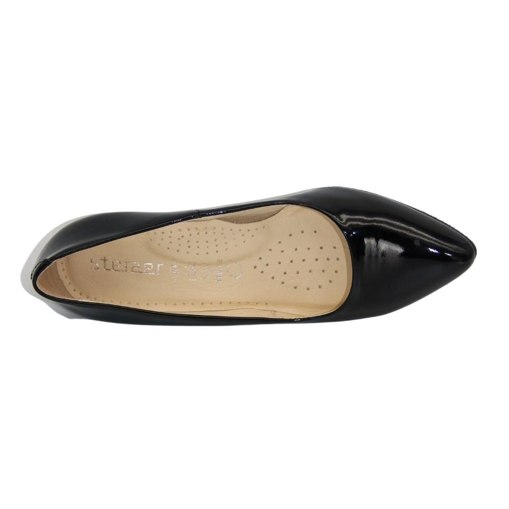 Женские черные туфли-лодочки на низком каблуке демисезонные NEXT SHOES (Польша) Натуральная кожа, арт 493-4510 модель 3180