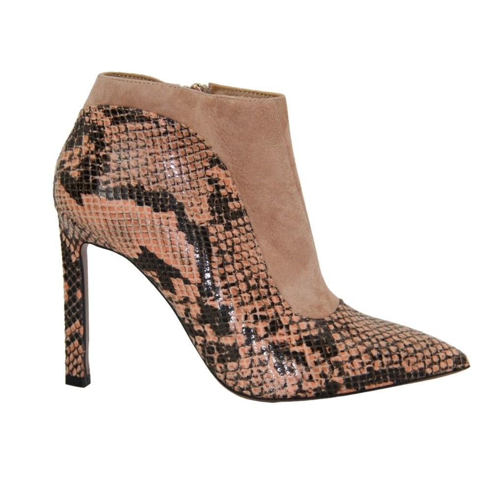Women's beige high-heeled ankle boots demi-season NEXT SHOES (Poland) Genuine leather, art 1706-e803-004-pyton-rozowo-brazowy-zamsz model 3281