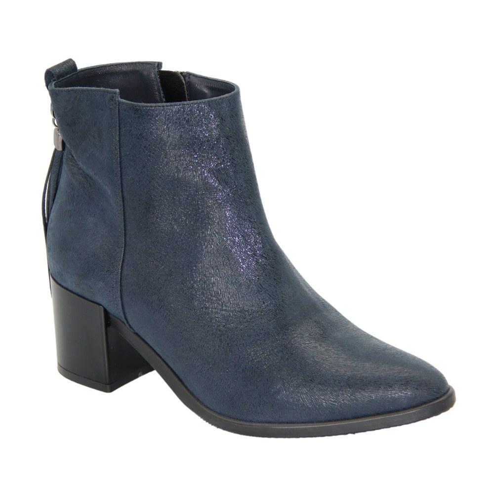 Женские синие ботинки на низком ходу со змейкой демисезонные NEXT SHOES (Польша) Натуральная кожа, арт 166-1343-novy-blue модель 3292