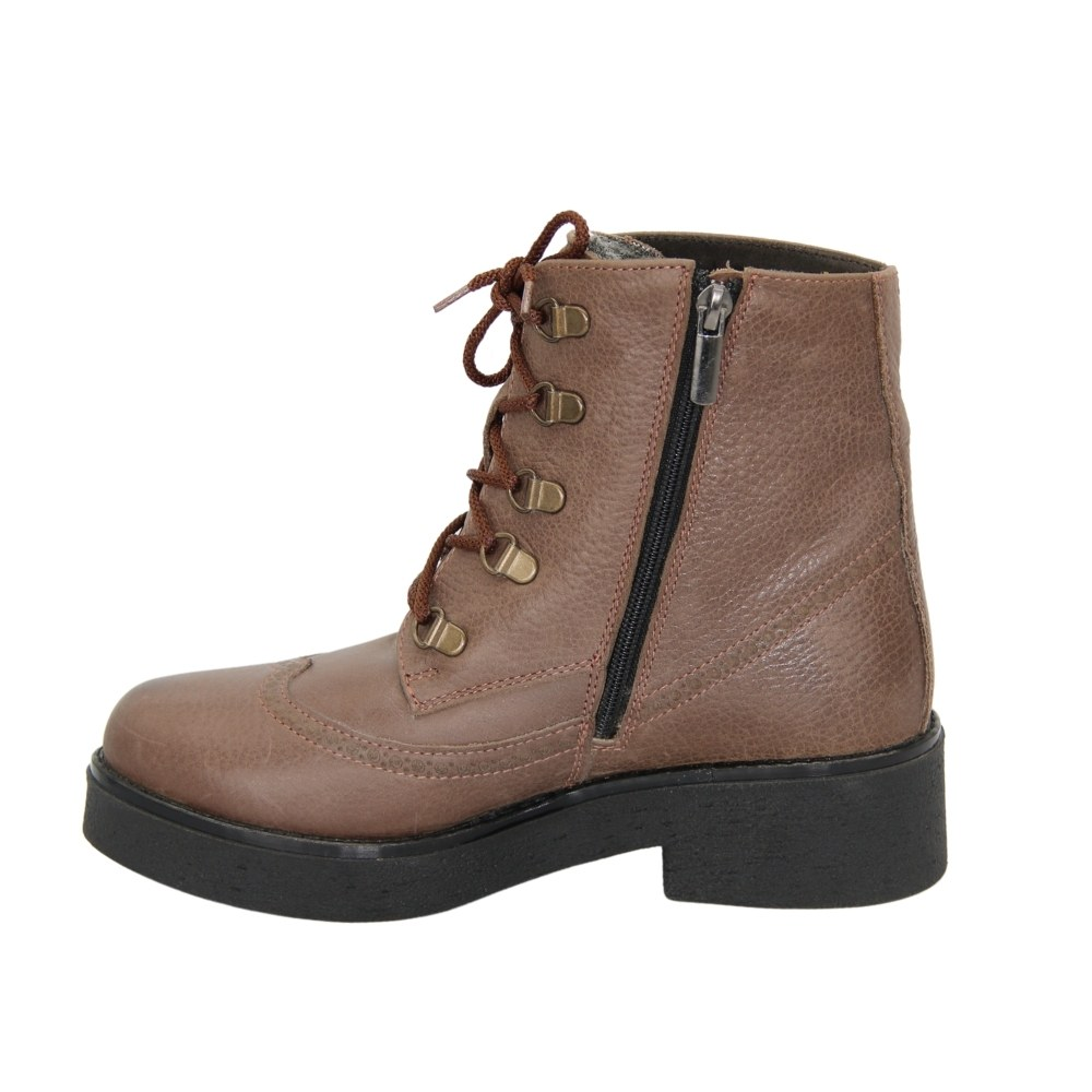 Women's beige boots with low heels with lacing and a snake winter NEXT SHOES (Ukraine) Genuine leather, art 572958 model 3313