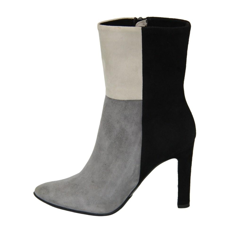 Женские серые ботинки на среднем каблуке со змейкой демисезонные NEXT SHOES (Польша) Натуральная замша, арт 5830-granat-samuel модель 3362