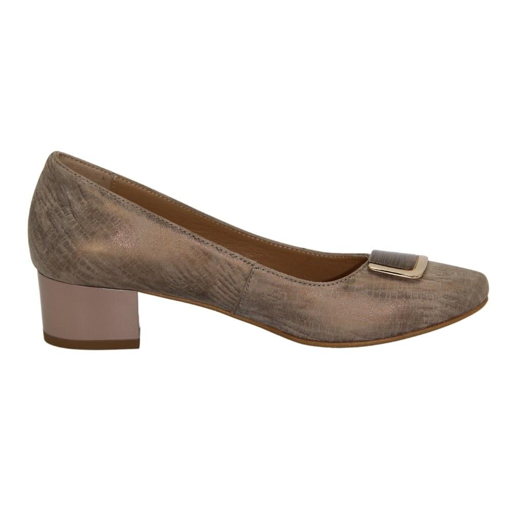 Women's beige mid-heeled shoes, demi-season NEXT SHOES (Poland) Genuine leather, art 1418 model 3389