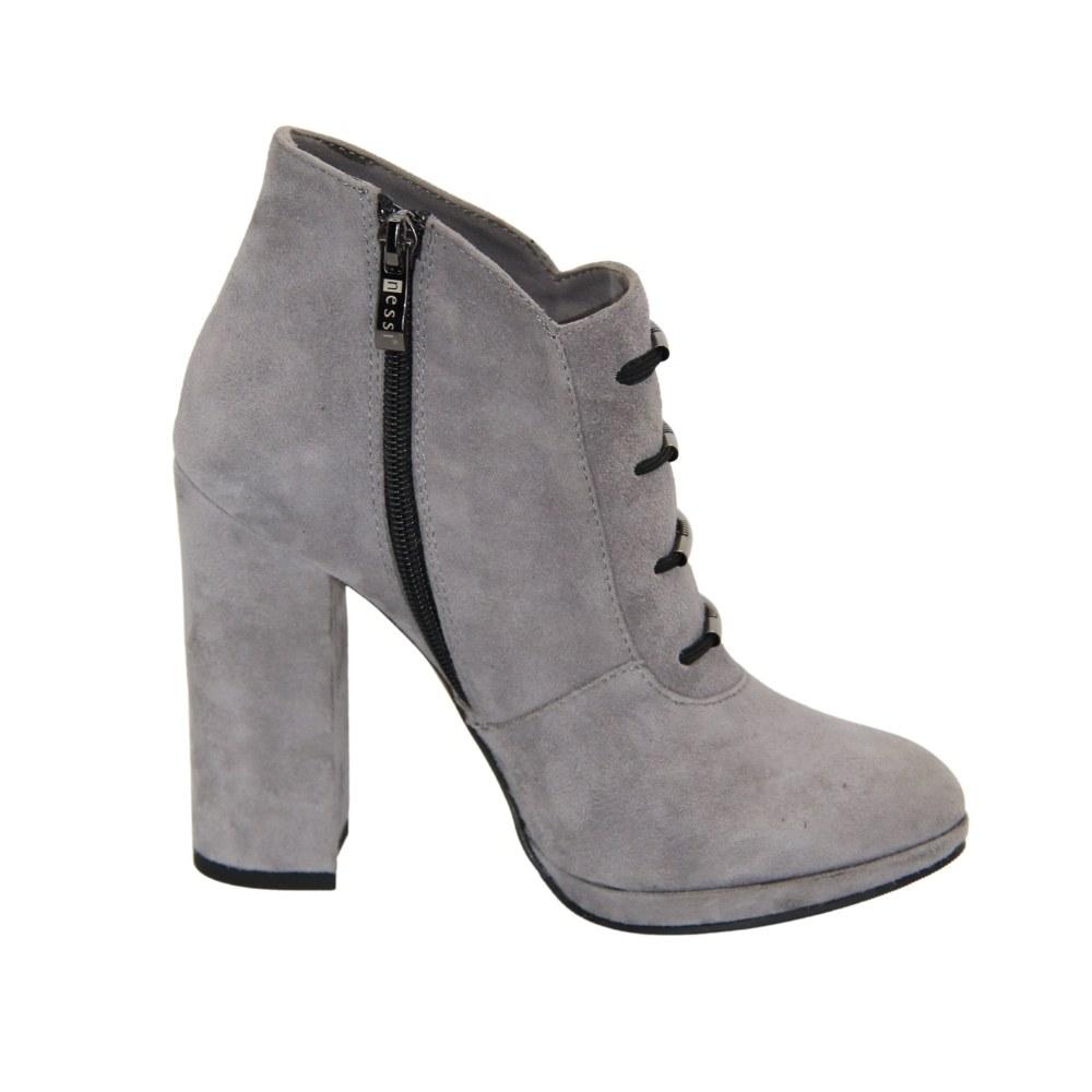 Женские серые ботинки на высоком каблуке со змейкой демисезонные NEXT SHOES (Польша) Натуральный нубук, арт 928-0-szary194 модель 3448