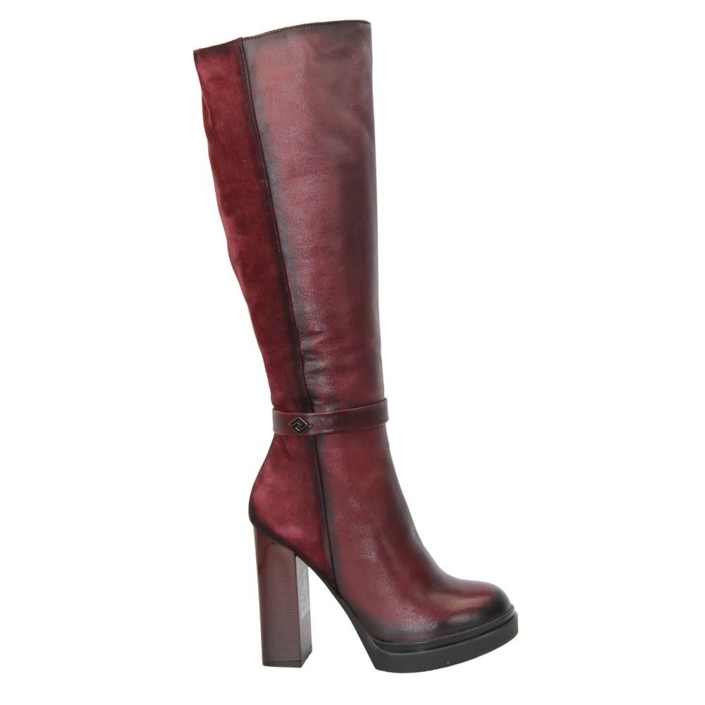 Женские бордовые сапоги демисезонные NEXT SHOES (Польша) Натуральная кожа, арт s4-14-5-bordo модель 3479
