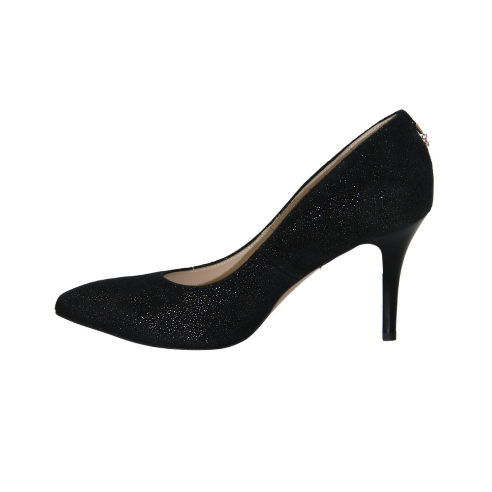 Женские черные туфли-лодочки на среднем каблуке демисезонные NEXT SHOES (Польша) Натуральная кожа, арт 4322 модель 3503