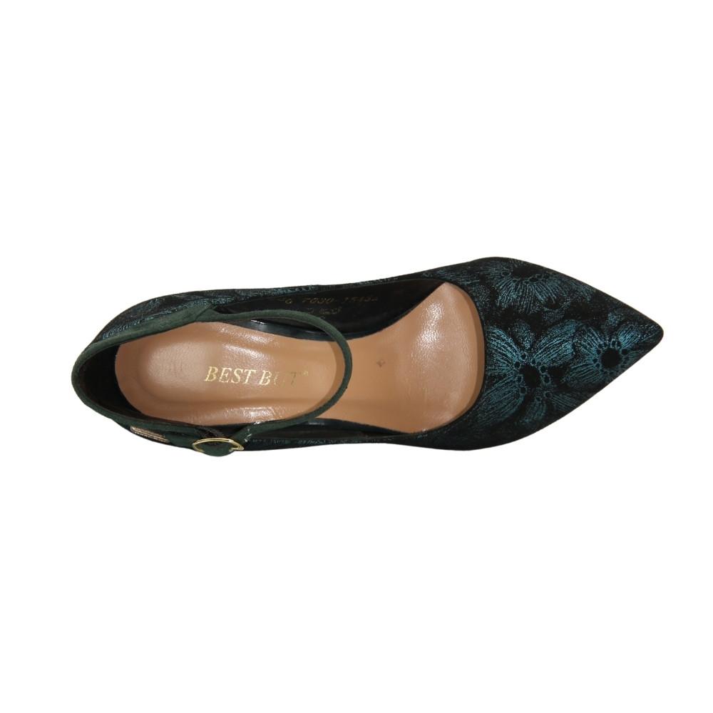 Женские зеленые туфли-лодочки на среднем каблуке и ремешком демисезонные NEXT SHOES (Польша) Натуральная кожа, арт 7230534-773 модель 3621