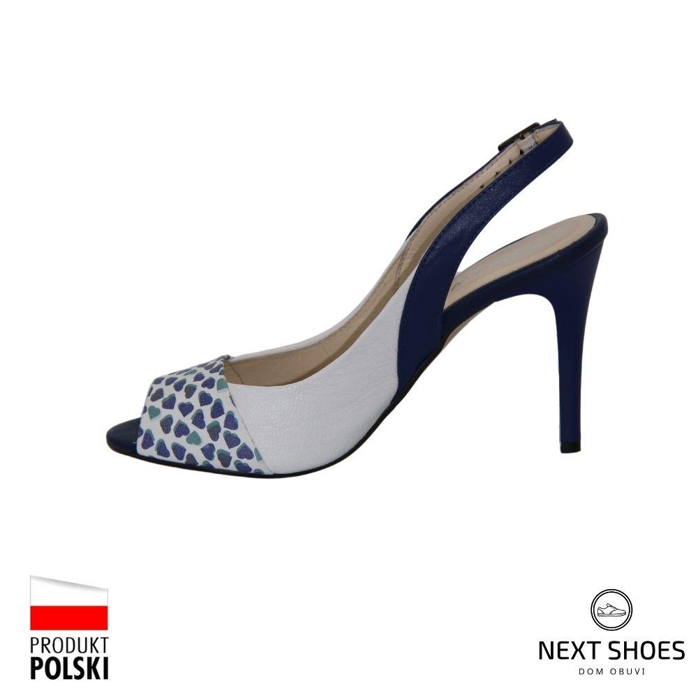 Босоножки на высоком каблуке женские синие NEXT SHOES (Польша) летние арт k-3211-563-29 модель 3731