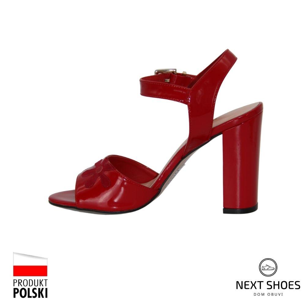 High-heeled sandals female red NEXT SHOES (Poland) summer art 4220257-257 model 3753