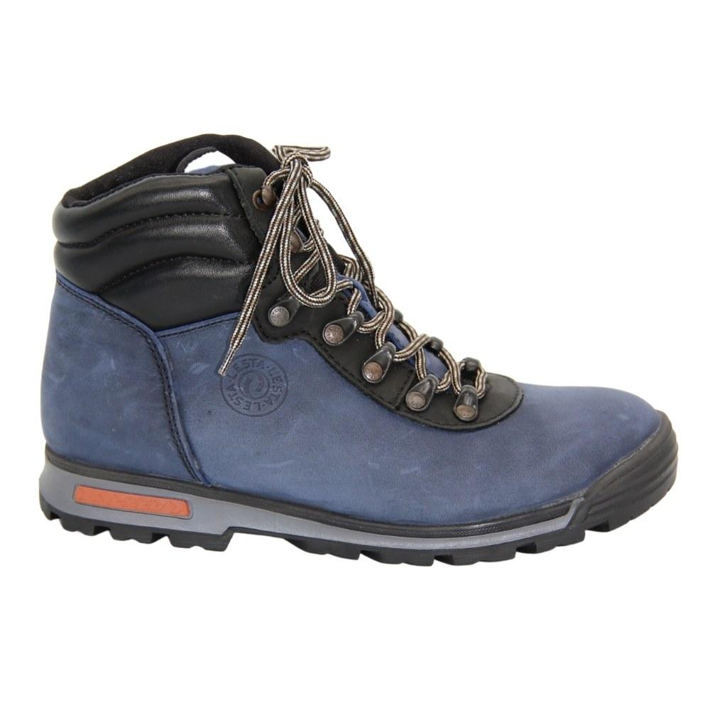 Женские синие ботинки спорт на шнуровке зимние NEXT SHOES (Польша) Натуральный нубук, арт 211-6501-7-3296 модель 3807