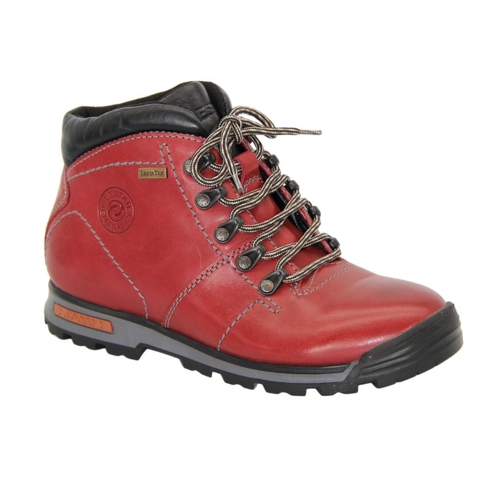 Женские красные ботинки спорт на шнуровке зимние NEXT SHOES (Польша) Натуральная кожа, арт 191-6470-6-5148 модель 3810