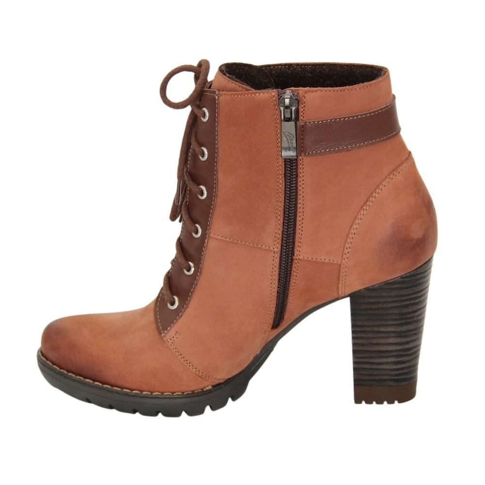 Женские коричневые ботинки на среднем каблуке со змейкой демисезонные NEXT SHOES (Польша) Натуральный нубук, арт 0684b-062-4 модель 3848