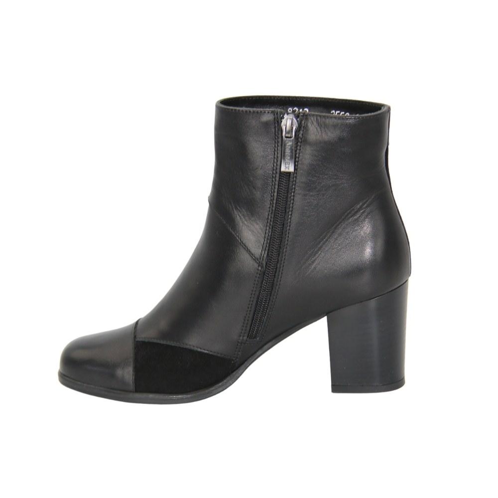 Женские черные ботинки на среднем каблуке со змейкой зимние NEXT SHOES (Польша) Натуральная кожа, арт 8218-01s-01wow-czarny модель 3878