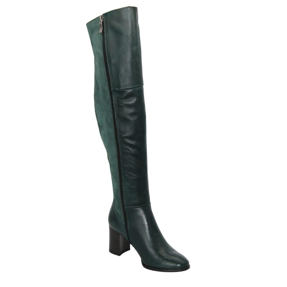 Женские зеленые сапоги демисезонные NEXT SHOES (Польша) Натуральная кожа, арт 0736k-012-078-41-zielony модель 3919