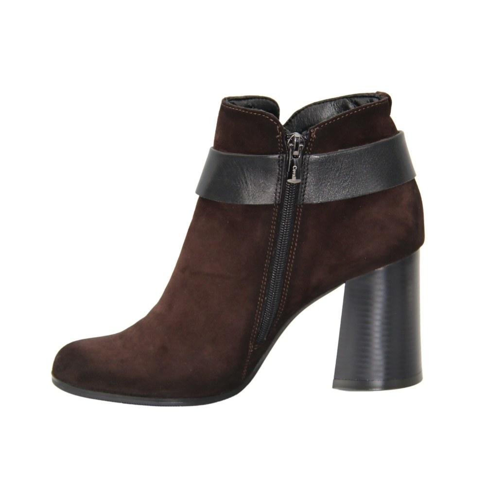 Женские коричневые ботинки на среднем каблуке со змейкой демисезонные NEXT SHOES (Польша) Натуральный нубук, арт  модель 3923