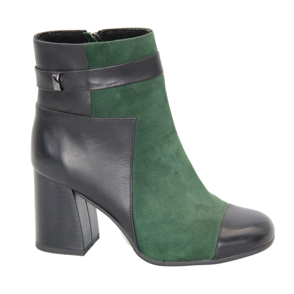 Женские зеленые ботинки на среднем каблуке со змейкой демисезонные NEXT SHOES (Польша) Натуральная замша, арт 8189-01s-13w модель 3942