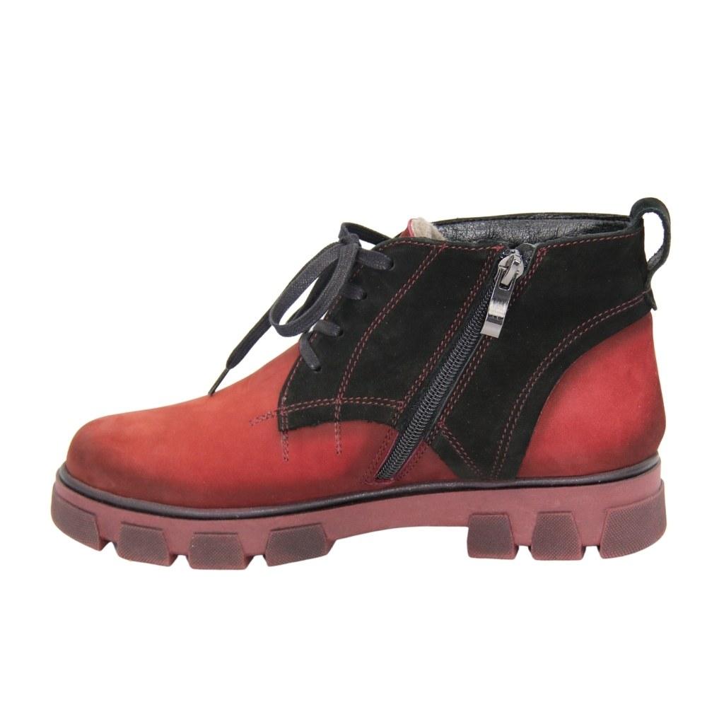 Женские красные полуботинки на низком ходу со шнуровкой и змейкой зимние NEXT SHOES (Польша) Натуральная кожа, арт sb-151-5-brd модель 3944