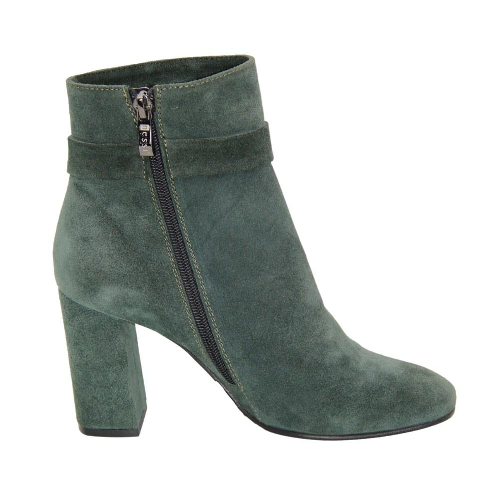 Женские зеленые ботинки на среднем каблуке со змейкой демисезонные NEXT SHOES (Польша) Натуральная замша, арт 17286-zielony-w модель 3958