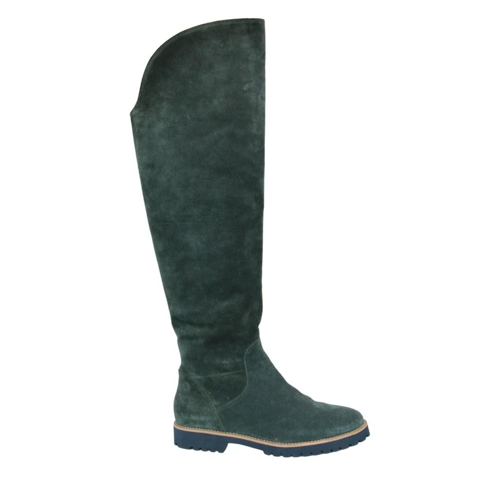Женские зеленые сапоги зимние NEXT SHOES (Польша) Натуральный нубук, арт 17271-zielony модель 3960