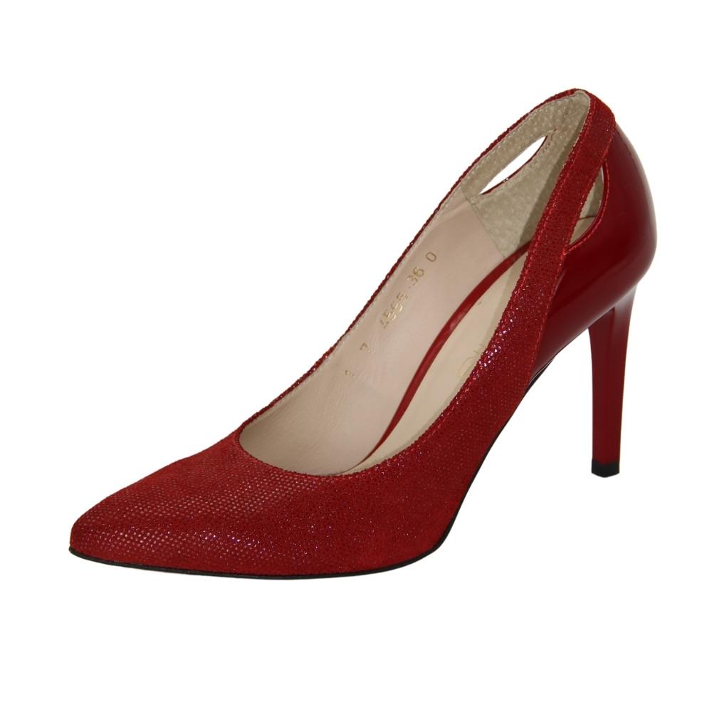 Женские красные туфли-лодочки на среднем каблуке демисезонные NEXT SHOES (Польша) Натуральная кожа, арт 4665 модель 3971
