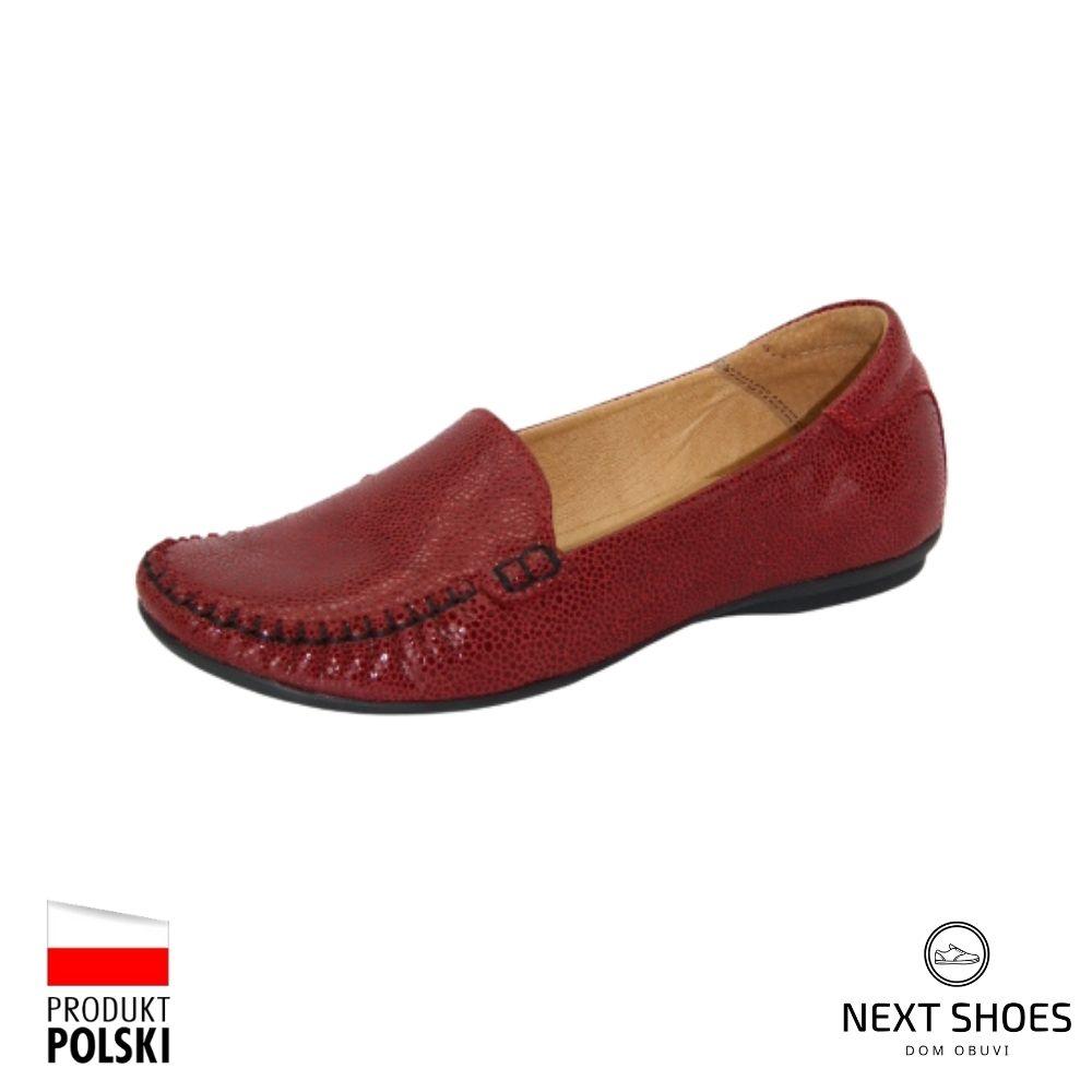 Moccasins female red NEXT SHOES (Poland) demi-season art 081-3692-1-5007 model 3999