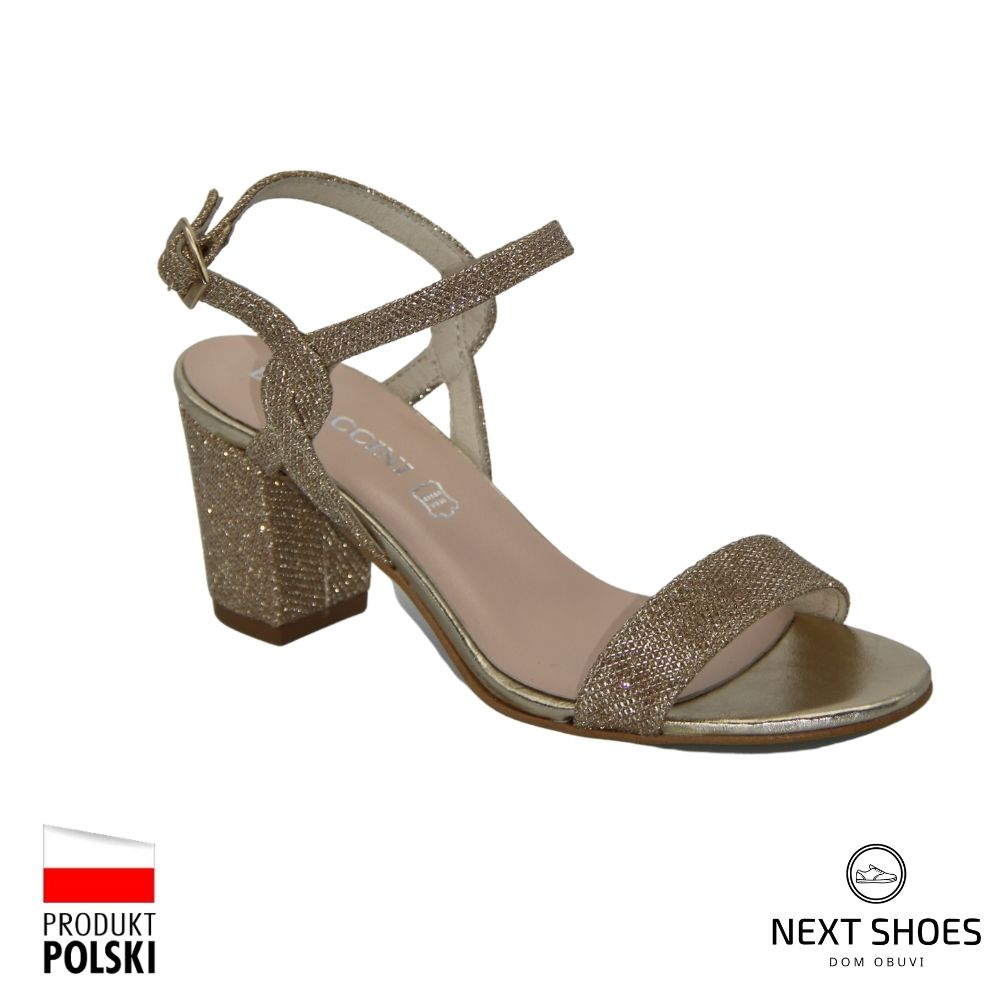 Sandals with medium heels female gold NEXT SHOES (Poland) summer art 910000-e model 4007