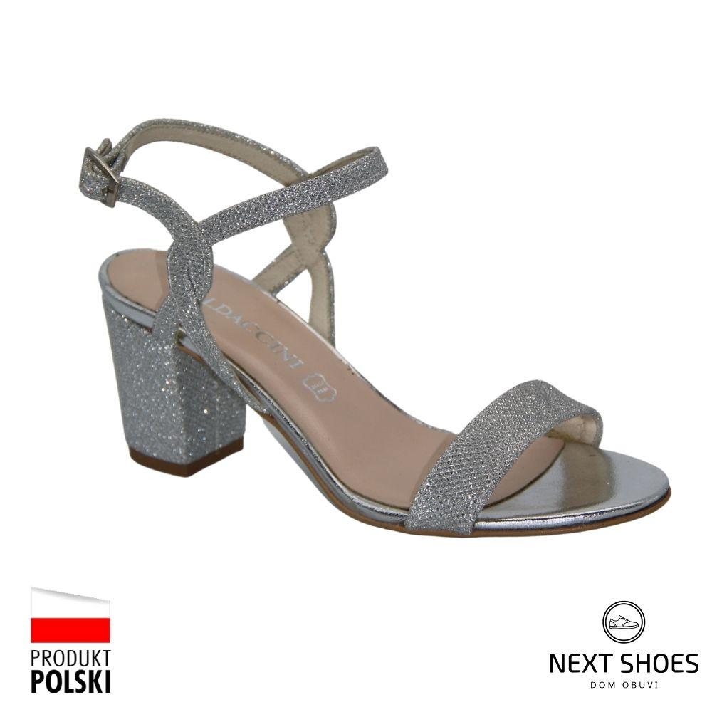 Босоножки на среднем каблуке женские серебристые NEXT SHOES (Польша) летние арт 0851p-367-027-1 модель 4008