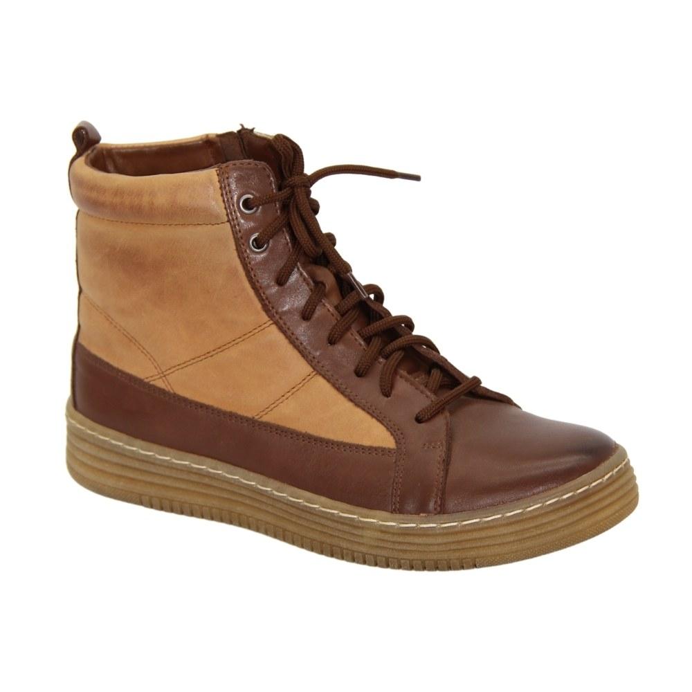 Женские коричневые ботинки на низком ходу со шнуровкой и змейкой демисезонные NEXT SHOES (Польша) Натуральная кожа, арт 0485-braz-rudy модель 4012