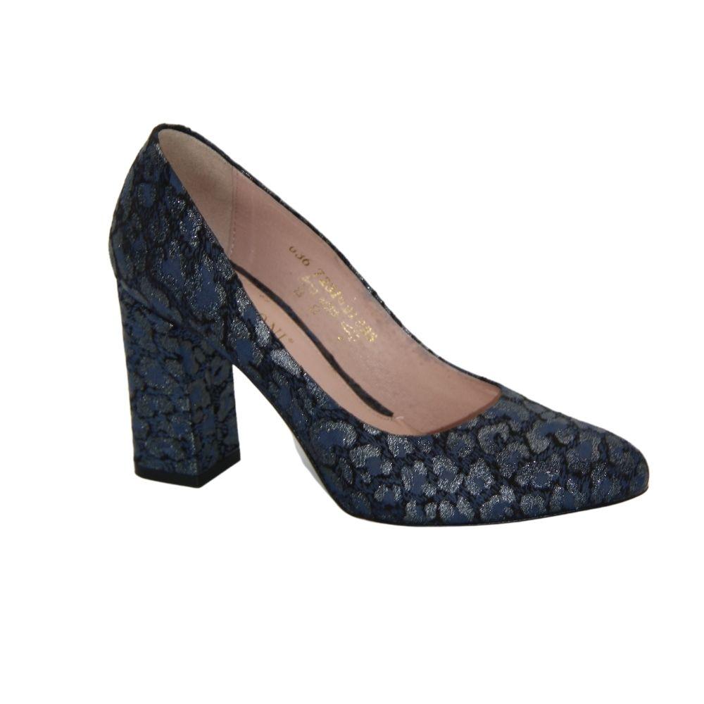 Женские синие туфли-лодочки на среднем каблуке демисезонные NEXT SHOES (Польша) Натуральная кожа, арт 7231374-867 модель 4034