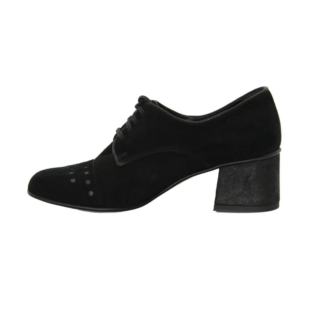 Туфли-чанки на среднем каблуке женские черные NEXT SHOES (Польша) демисезонные арт 8439-01w-04m-czarny модель 4036