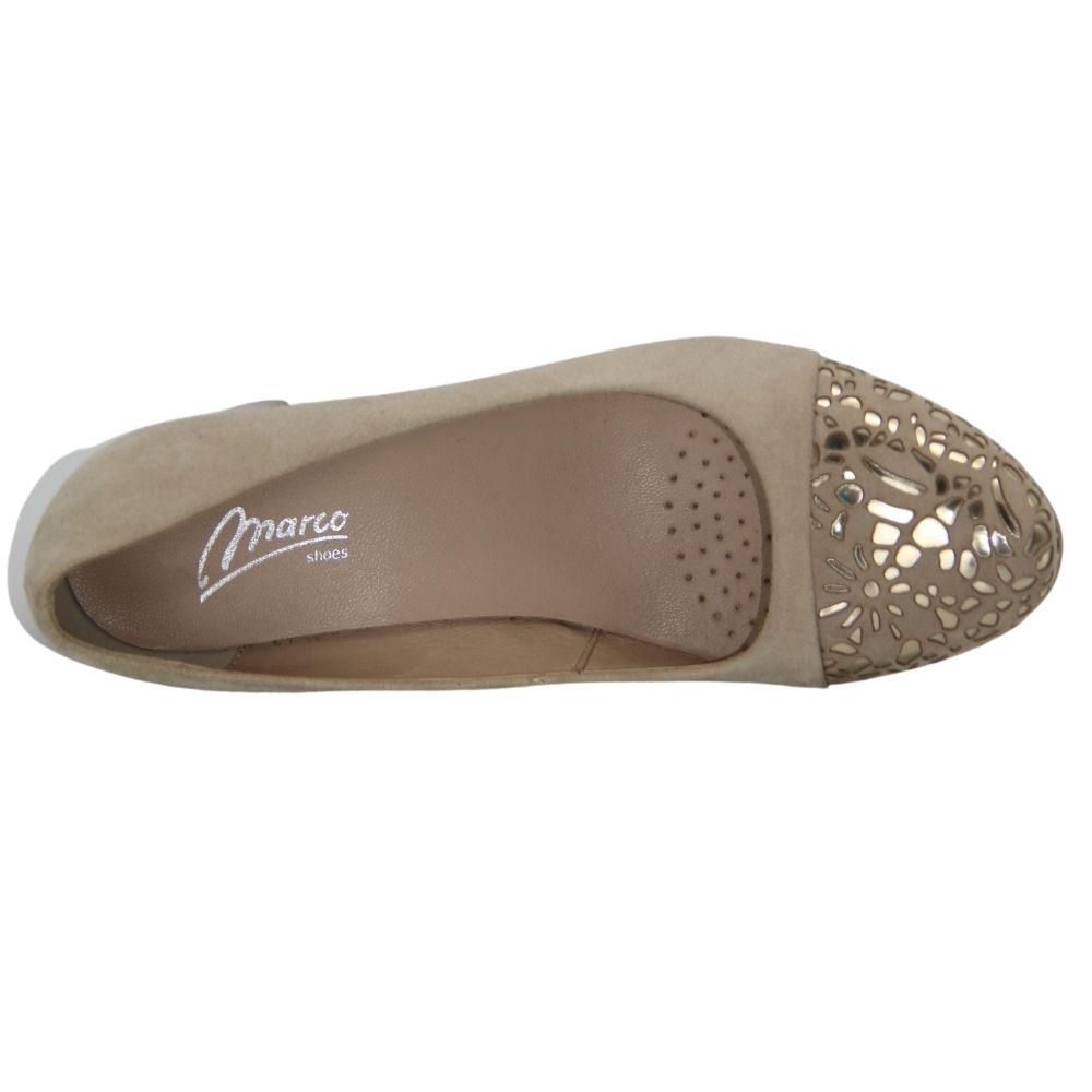 Women's beige mid-heeled shoes, demi-season NEXT SHOES (Poland) Genuine leather, art 0834p-047-911-1 model 4052