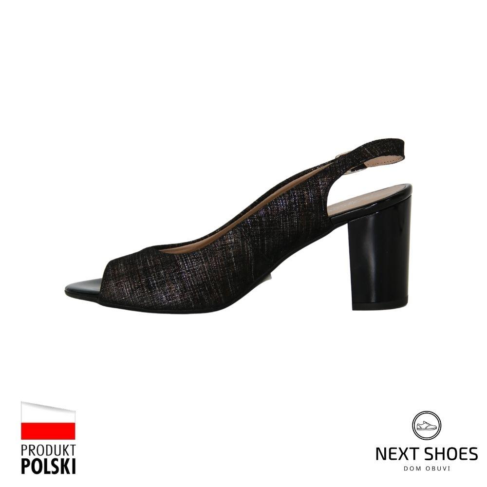 Босоножки на среднем каблуке женские черные NEXT SHOES (Польша) летние арт 082p-440-021-1 модель 4053