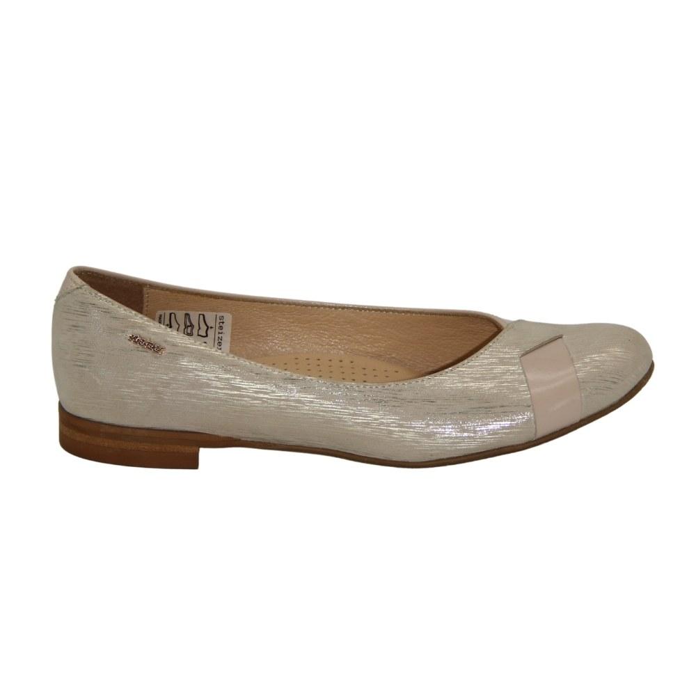 Women's beige summer ballet flats NEXT SHOES (Poland) Genuine leather, art 8463 model 4070