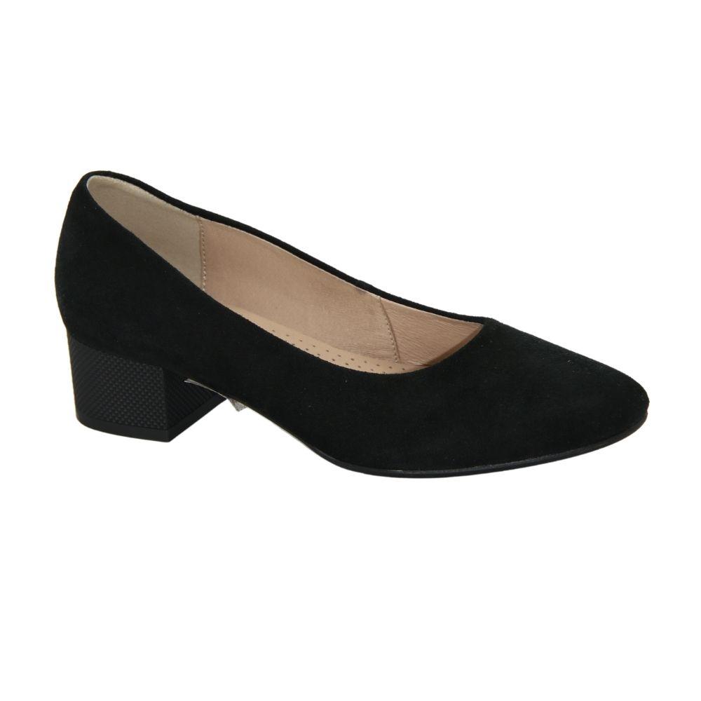 Женские черные туфли-лодочки на низком каблуке демисезонные NEXT SHOES (Польша) Натуральная кожа, арт 0847p-041-1 модель 4085