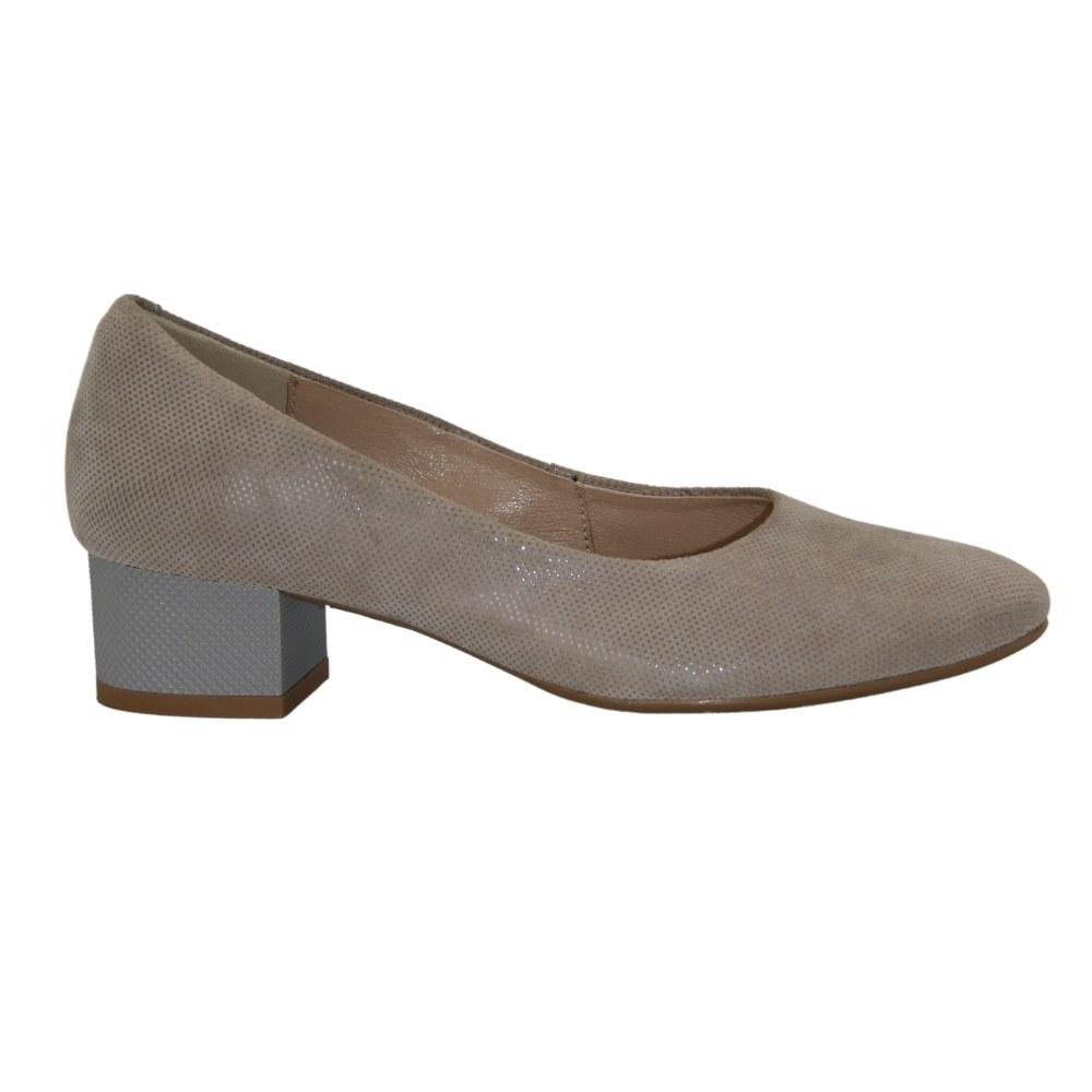 Женские серые туфли-лодочки на низком каблуке демисезонные NEXT SHOES (Польша) Натуральная кожа, арт 0847p-382-1 модель 4096