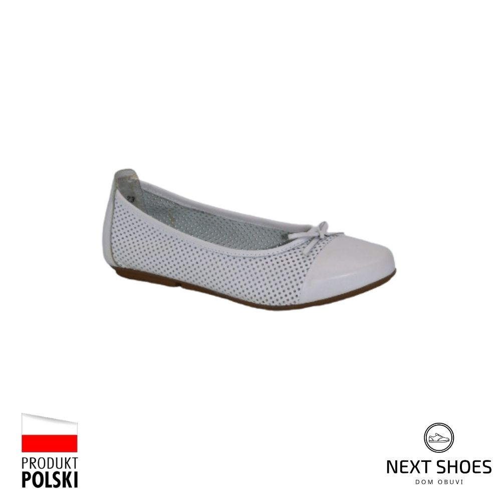 Балетки женские белые NEXT SHOES (Польша) летние арт 221-4255-100b30099 модель 4103