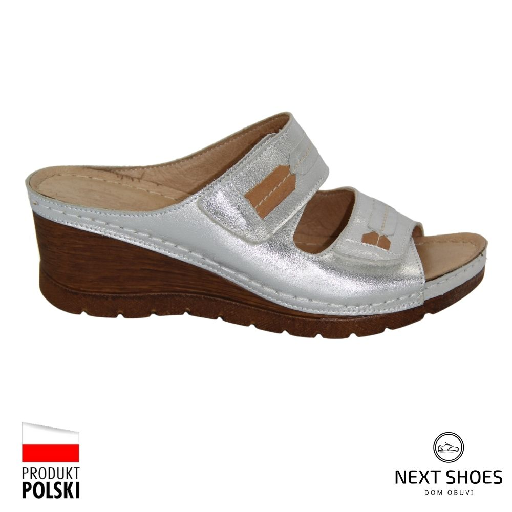 Slippers female silver NEXT SHOES (Poland) summer art 6-0979-009 model 4125
