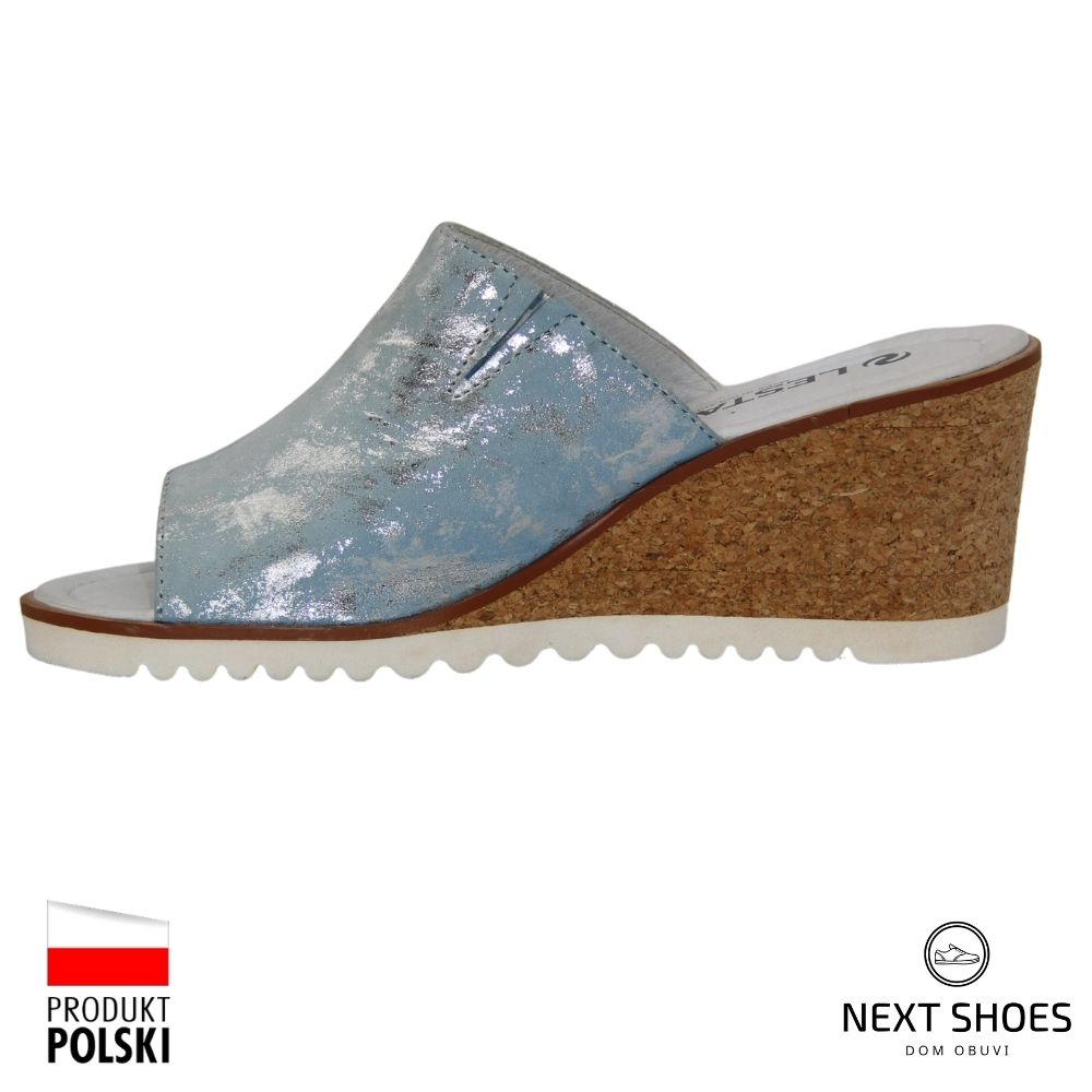 Slippers female blue NEXT SHOES (Poland) summer art 221-1255-1-37f9 model 4133