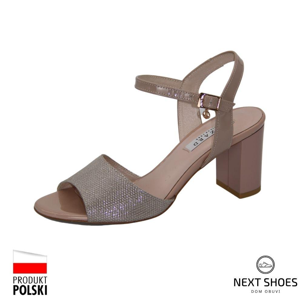 Босоножки на среднем каблуке женские бежевые NEXT SHOES (Польша) летние арт 0436-0125-0555 модель 4135