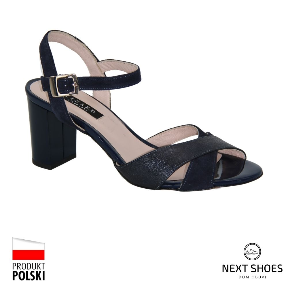 Босоножки на среднем каблуке женские синие NEXT SHOES (Польша) летние арт 04347-0125-0355 модель 4136